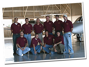 group photo of aviation team