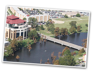aerial photo of library and Coenen Hall