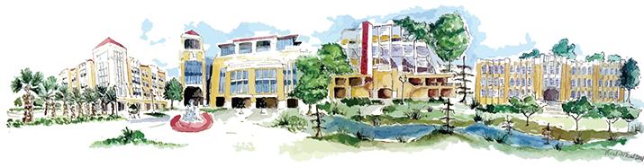Watercolor of ULM Campus