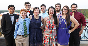 Honors students smiling group photo