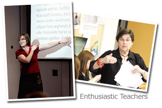enthusiastic teachers in classroom photo collage