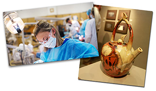 images of dental assistant and art gallery
