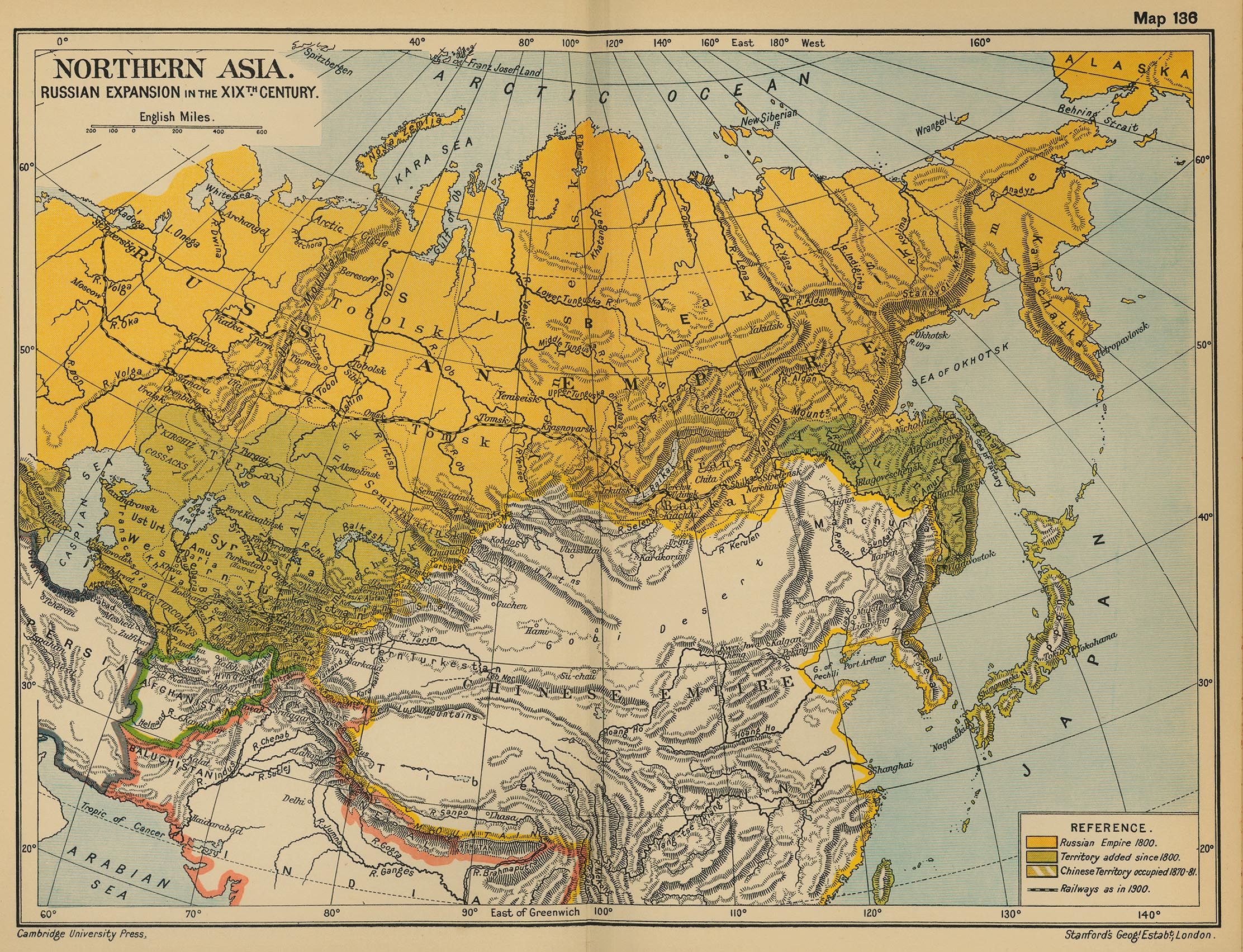 Northern Asia in the 19th Century Map