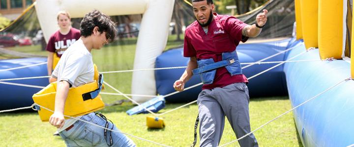 students playing outdoor games