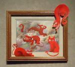 Title: Red Imps Invading a Thrift Store Painting