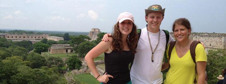 Students at the ruins of the Mayan town of Uxmal