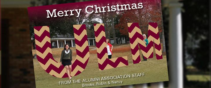 Photo of Christmas Card, ULM letters with staff