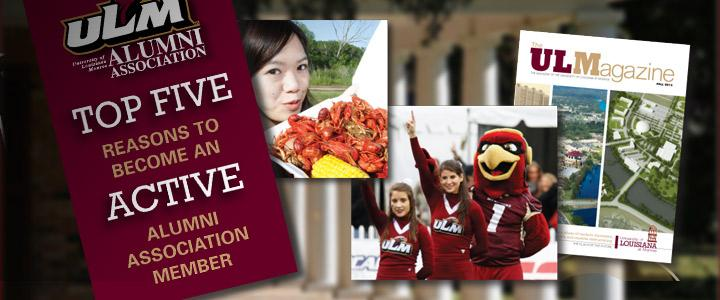 images of cheerleaders, magazine and student with crawfish