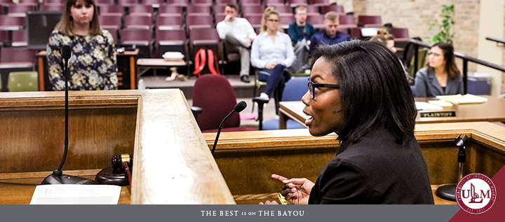 The College of Business and Social Sciences houses the nationally-ranked ULM Mock Trial Team.
