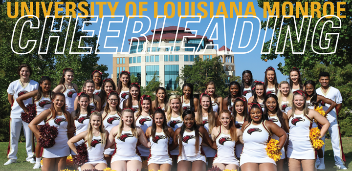 ULM Cheerleaders group in front of Library