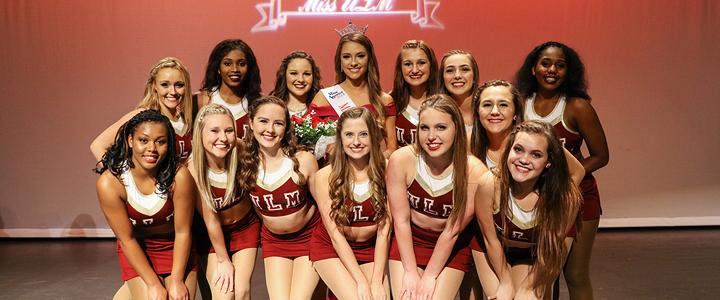 group photo on stage at Miss ULM pageant