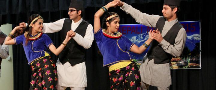 photo of Nepali students dancing