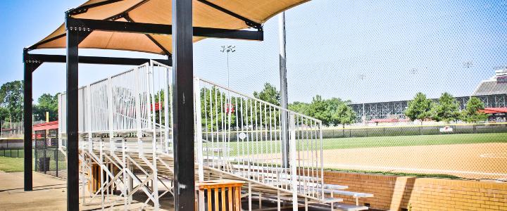 Baseball field bleachers