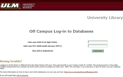 Off Campus Access Ulm University Of Louisiana At Monroe
