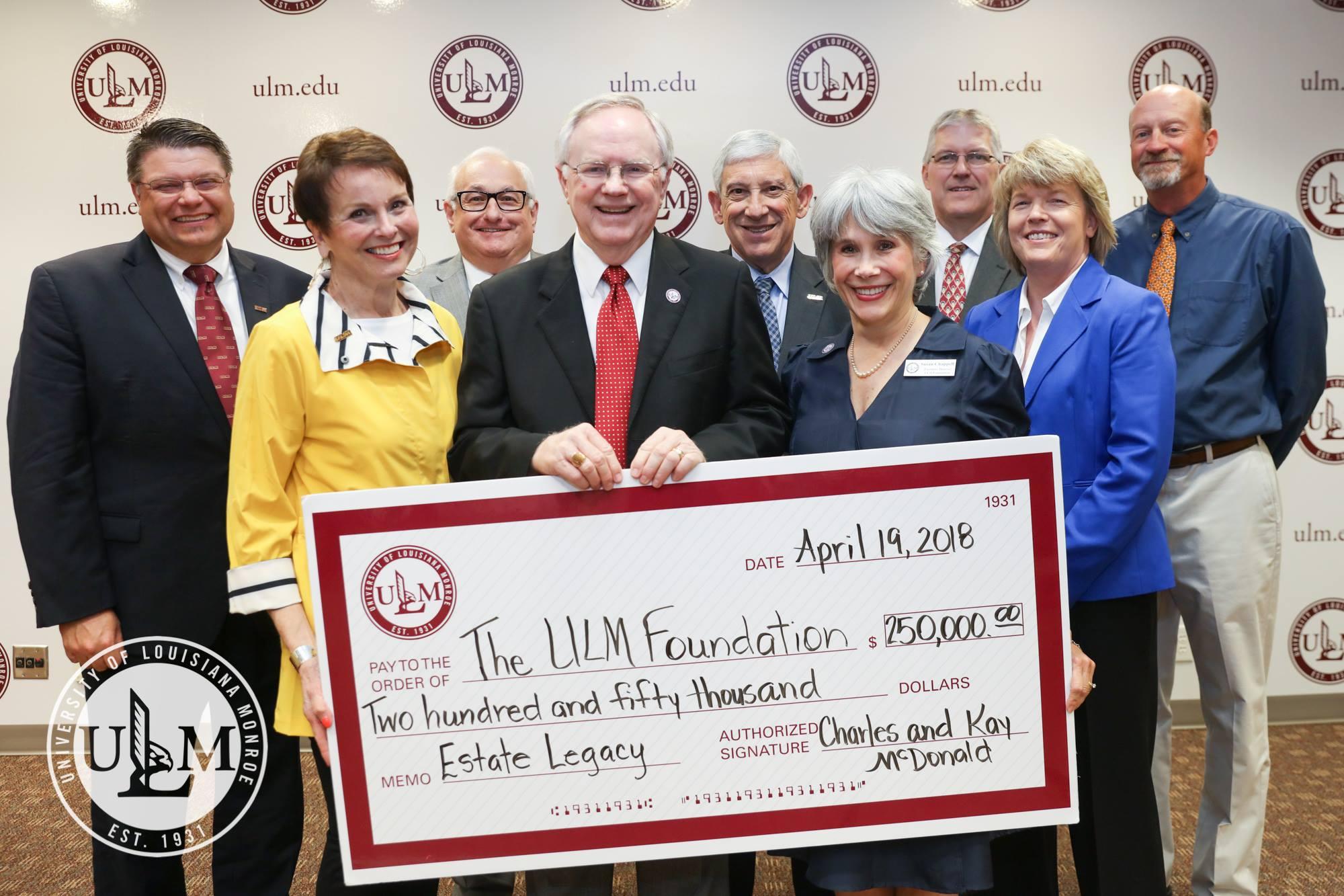 ULM Foundation honor McDonalds for estate gift