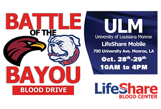 Battle of the Bayou Blood Drive set for Oct. 28-29