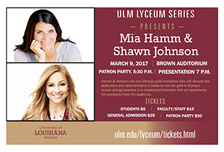 Olympic gold medalists Hamm and Johnson are ULM's Lyceum Series speakers