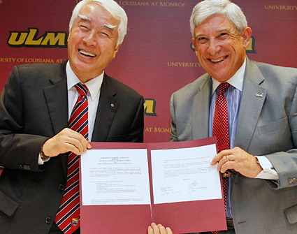 Photo of ULM President Dr. Nick J. Bruno and GGU President Dr. Byung-Jo Chung