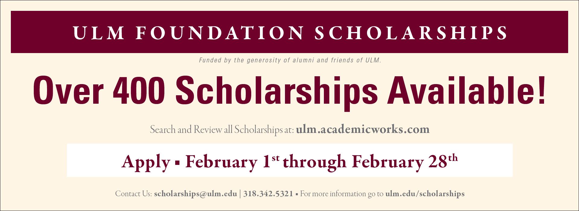 Foundation Scholarships Applications Open Announcement