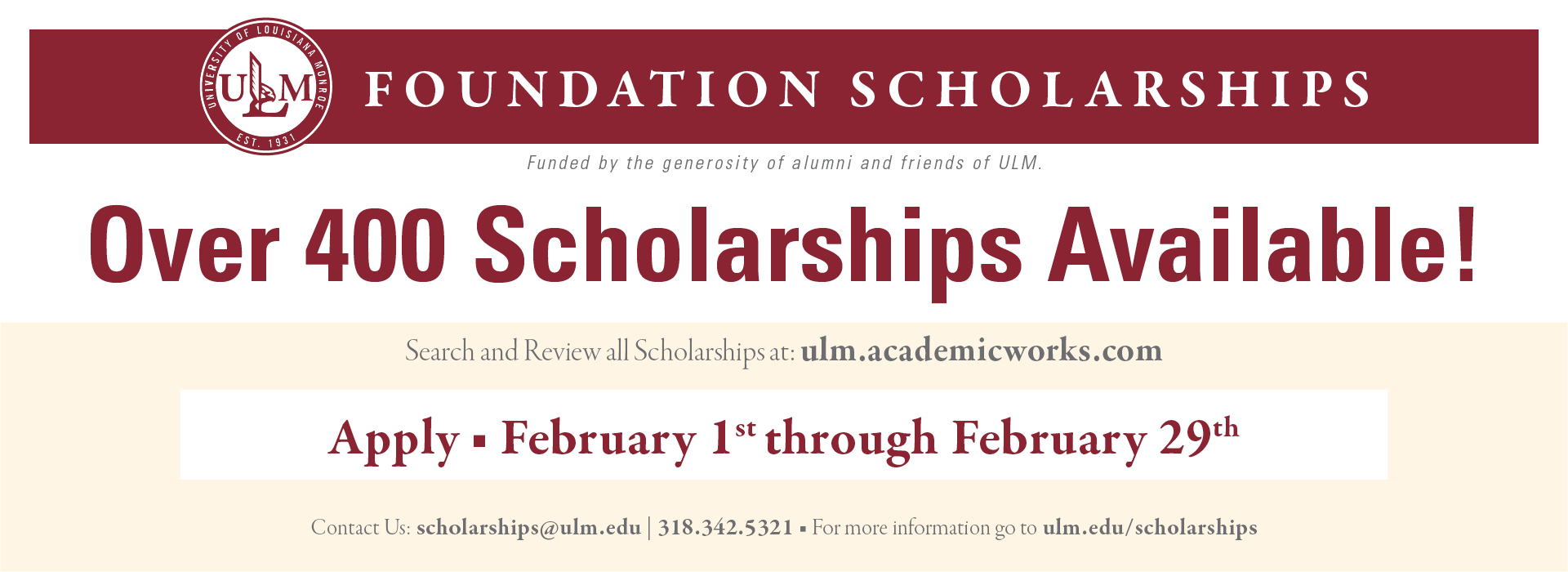 ULM Foundation Scholarships 2020 banner ad