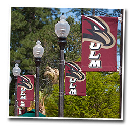 ULM banners on poles around campus