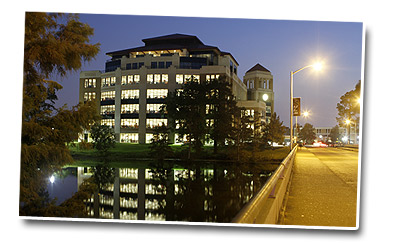 university library night scene
