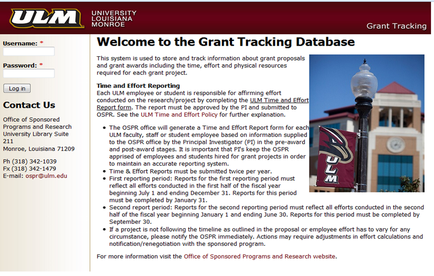 Grants Tracking Webpage