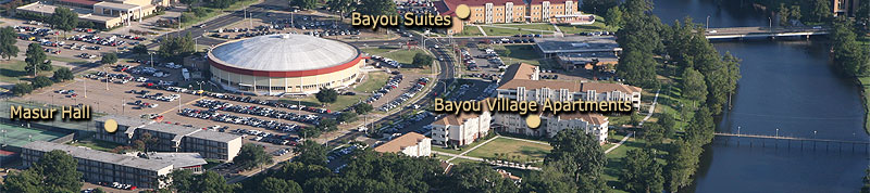 residence hall locations east of the bayou