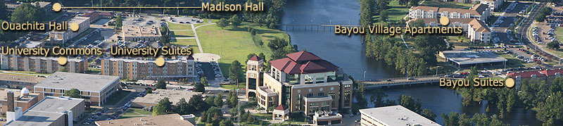 residence hall locations west of the bayou
