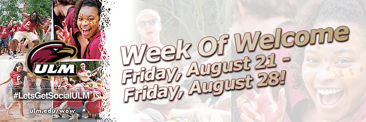 Week of Welcome August 21-28 graphic of students having fun